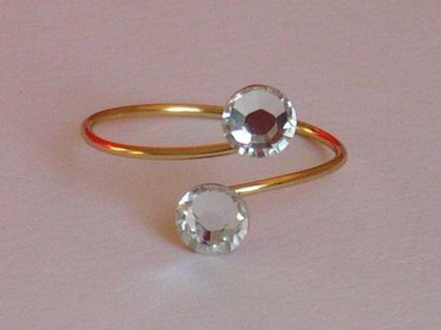 Gold plated Toe Ring made with 4.5mm Swarovski Crystals - various colours