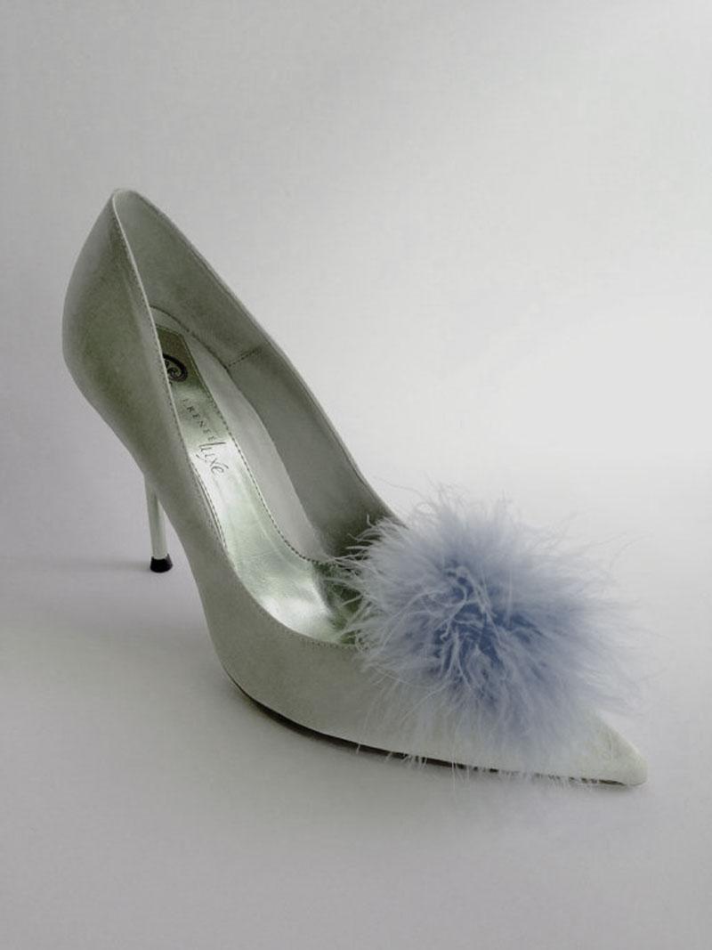 Silver Pom Pom Shoe Clips