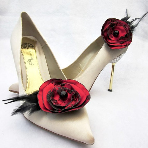 Red & Black Satin Flower & Feathers Shoe Clips