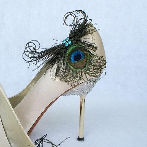 Peacock Feather & Aqua Rhinestones Shoe Clips