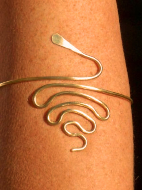 Curled Brass Snake Arm Jewellery