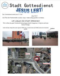 17.07. Gottesdienst in der Stadt, Sonntag Gottesdienst entfällt