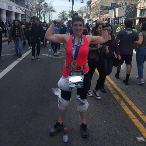Photo of my finish at LA Marathon 2018