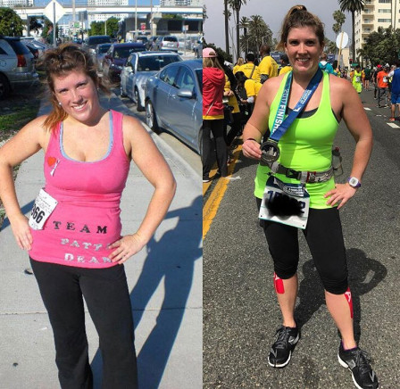 Photo from my first 5K side by side with my first Marathon!