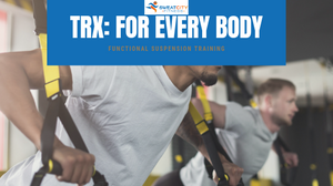 Two males at Gym using suspension training.  Title of Blog TRX: For EveryBody