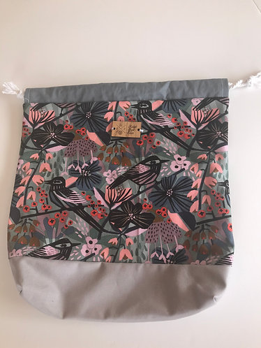 Birds and floral canvas with silver