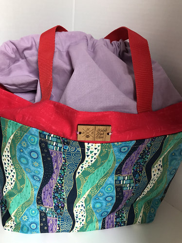 Green and Purple Artwork Large Tote