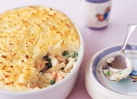 Cod Salmon and Prawn Pie:   serves 4-6