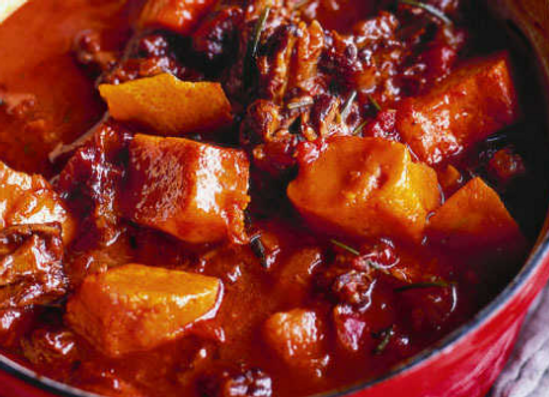 Slow braised oxtail with pumpkins and sweet spices
