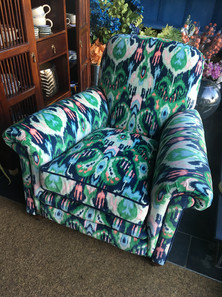 Ikat printed velvet club chair