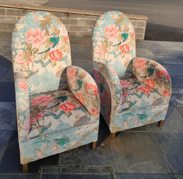 Chinoiserie printed Art Deco chairs