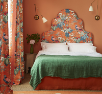 Chinoiserie headboard and curtains