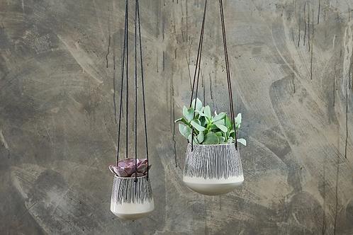 Matamba Ceramic Hanging Planters - Lines