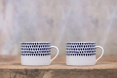 Indigo Drop Mugs - Large (set of 2)