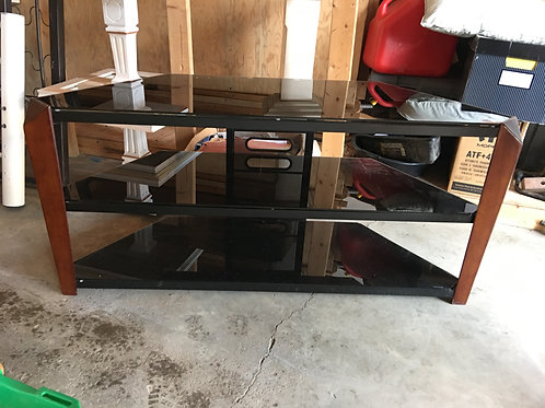 "WB - 052 - Tempered Glass & Wood Entertainment Stand - 48x17x22""T"