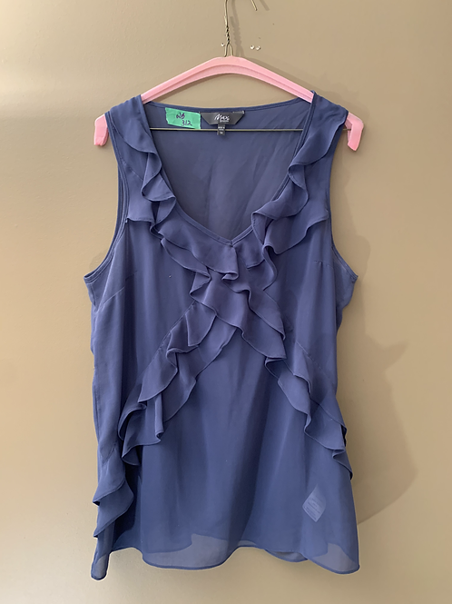 WB - 312 - Max Shop.com Blue Ruffled Sleeveless Top - Size 14