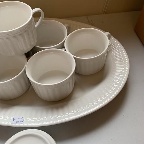 MR - 207 - Oneida Kitchen Simply Elegant Ariel Platter&Mugs-9PC