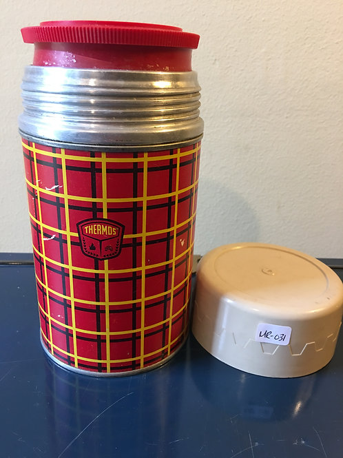 """MR - 031 - Vintage Polly Red Top Tartan Thermos W/Cup - 19"""""""