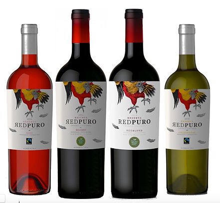 """Redpuro is our Reserva line, our """"work horse"""" pallet pleaser wines that fill the expectations from our consumers. These rounded, medium bodied tasty wines are aged for 6 months in French oakbarrels. """"The Pure Red"""" is the bread of themagnificent roosters from South America. In these winesexpress their passion andpurity, we believe that our packaging is superb and memorable alongwith deep and clean taste of our wines."""