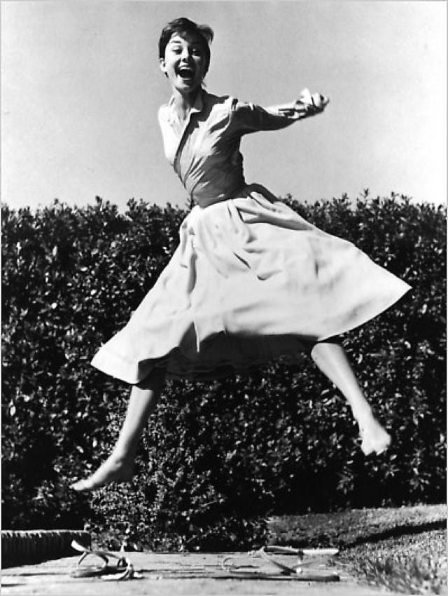 Audrey Hepburn Jumping by Philippe Halsman