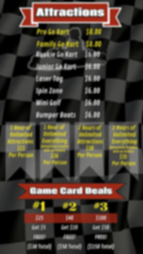 Attractions Menu with Go Karts, Laser Tags, Spin Zone, Mini Glf, and Bumper Boats