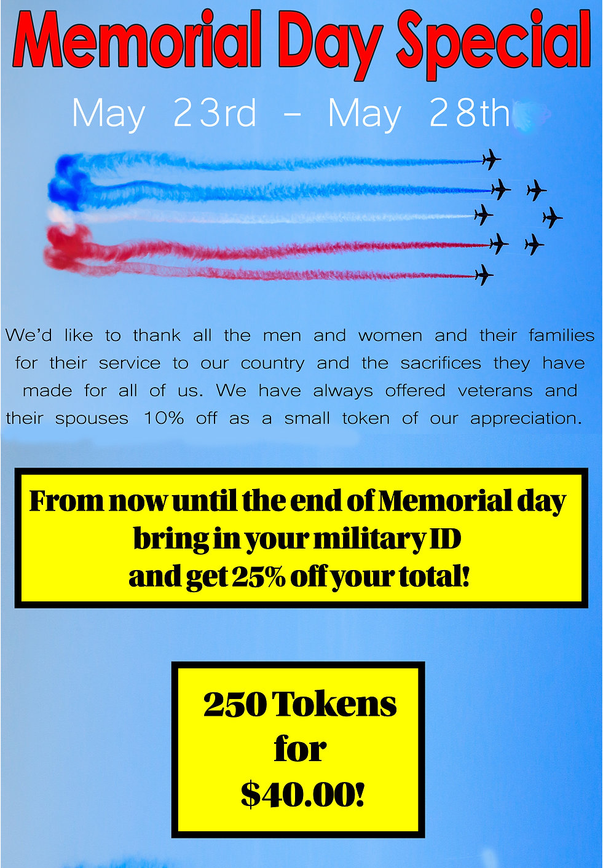 Memoral Day Deals for Veterans Token specials discounts at Lokomotion Famil Fun Park
