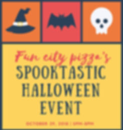 Fun city Halloween event with games, candy, golf or treat, and pizza,