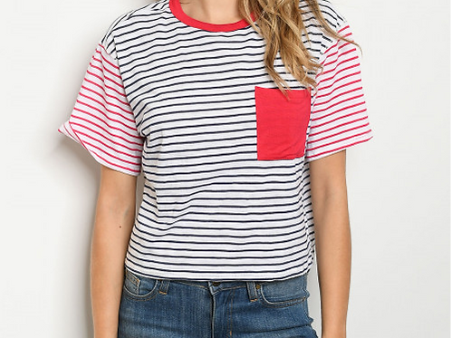 Red and Navy Striped Tee