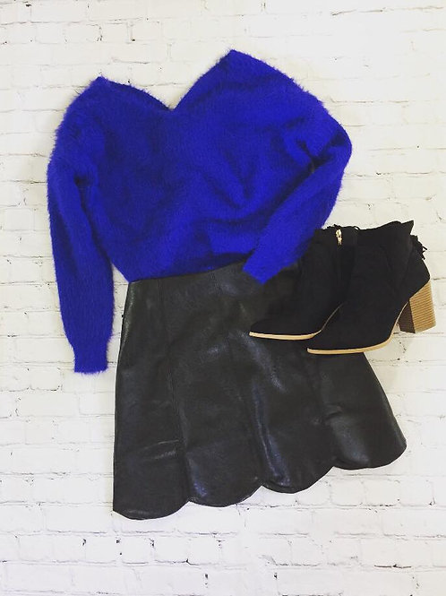 Scalloped Leather-Look Skirt