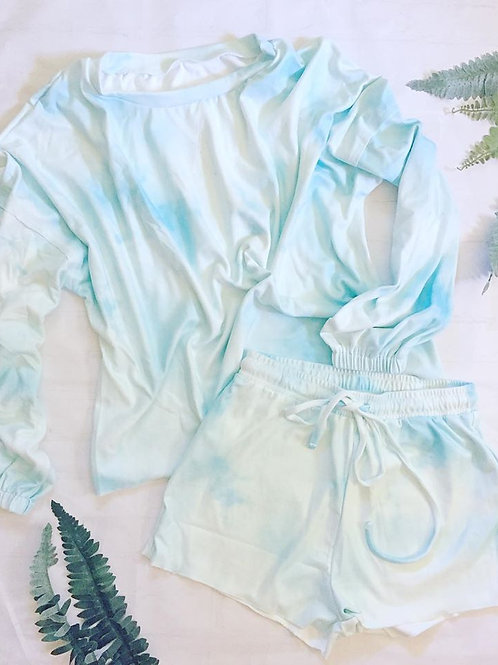 Blue and White Tie-Dye Short Set