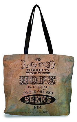 """""""THE LORD IS GOOD""""  RECYCLED LEATHER TOTE"""