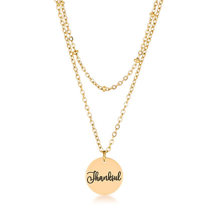 """Mini """"Thankful"""" Delicate 18k Gold Plated Necklace"""