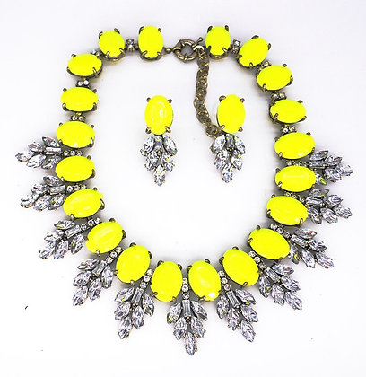 Yellow and Rhinestone Statement Necklace /w Matching Earrings