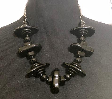 Black Multi-layer Flat Acrylic Necklace