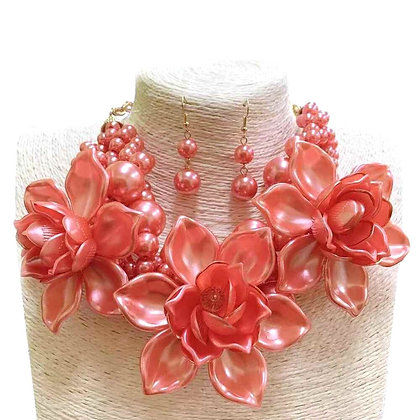 Pink Pearl and Flower Choker Necklace Set
