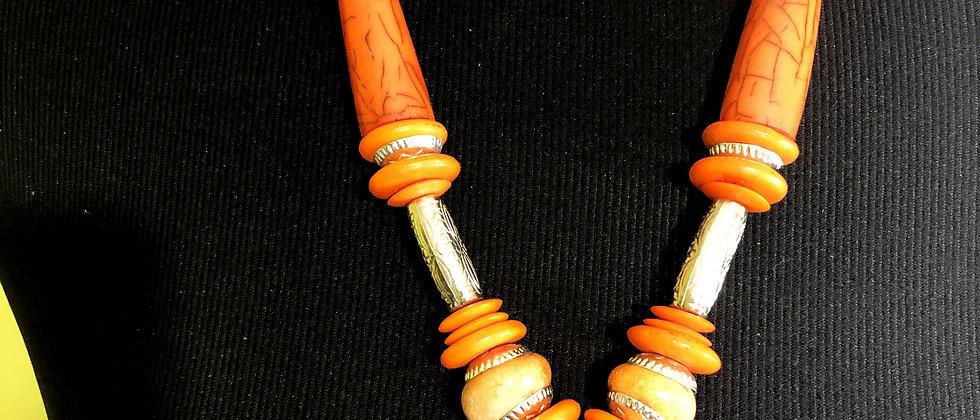 Beautifully Crafted Orange Aztec-like Necklace