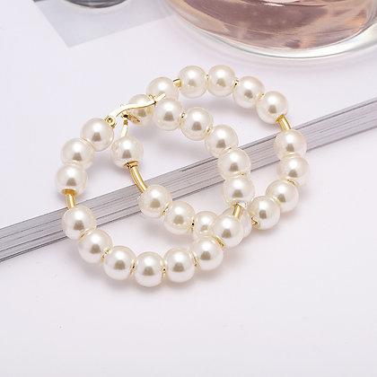 White Stainless Steel Pearl Earrings