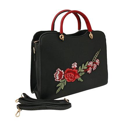 Rose Black Vegan-Leather Handbag