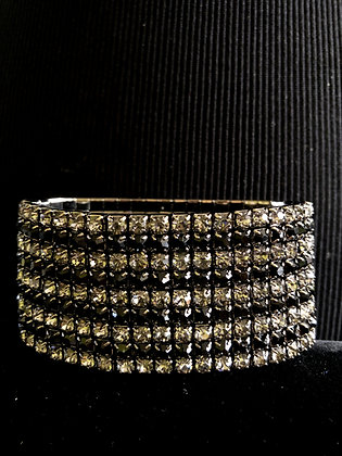 9-Tiered Sparkling Black and Silver Rhinestone Stretch Bracelet