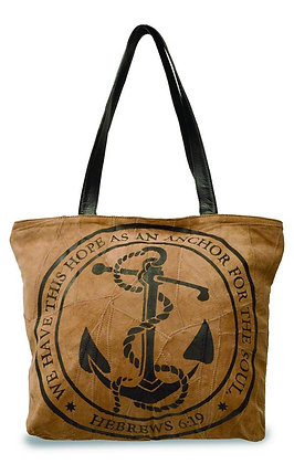 """HOPE AS AN ANCHOR""  RECYCLED LEATHER TOTE"
