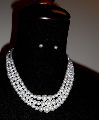 3 Strand Faux Pearl Necklace, Glass Beaded Necklace