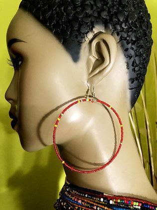 Red-Spike Beaded Earring Hoops