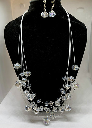 Elegant Clear Glass  Necklace Set