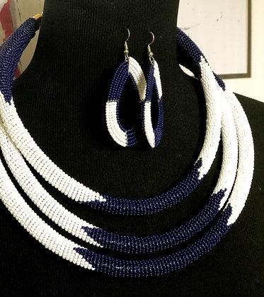 Maasai Three Blue and White Strand Beaded Necklace Set