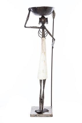 "28"" Tall Uniquely Detailed Kenyan Cow Horn Plant Pedestal"