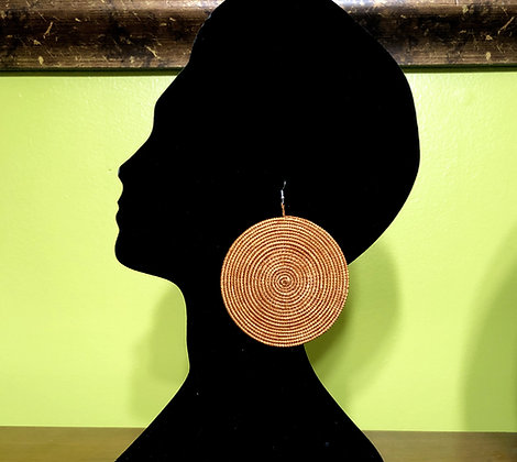 Woven Sisal Straw Disc Earrings-Brown_Large