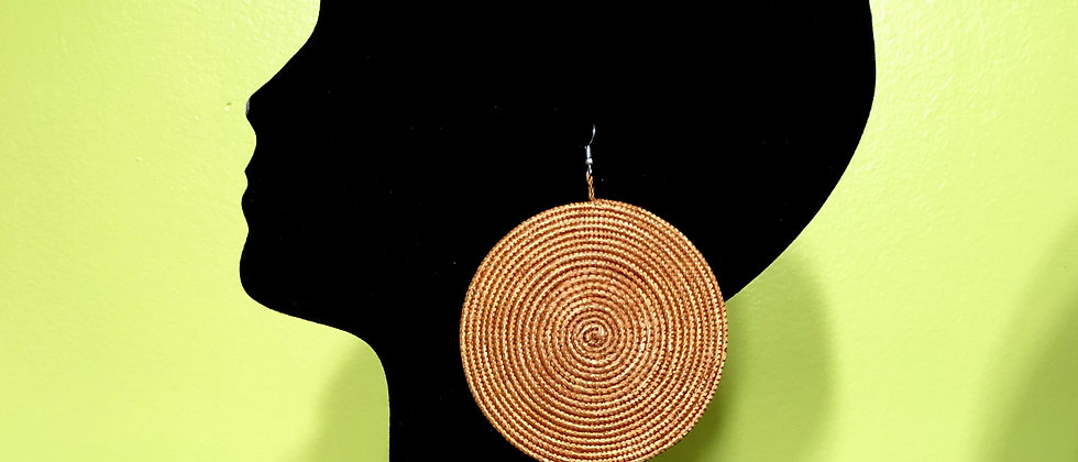 Woven Sisal Straw Disc Earrings-Brown_Large
