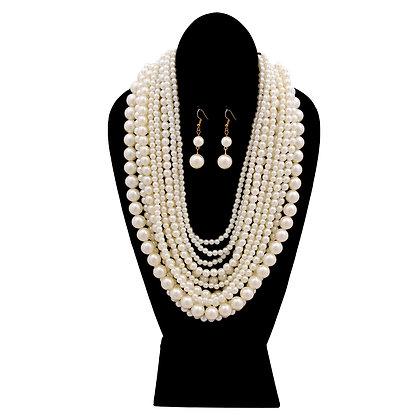12 Strand Cream Pearl Multi-Layered Necklace Set
