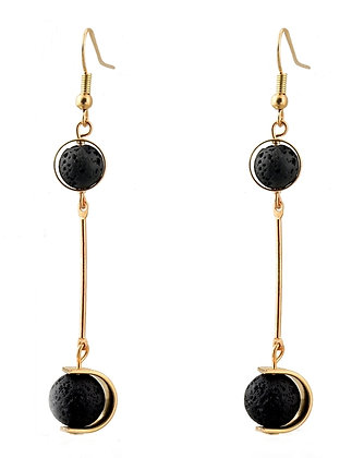 Lava Stone Earrings Gold-tone