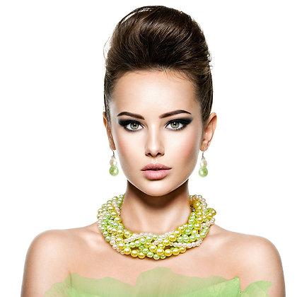 Beautifully Designed Various Lime Twisted Pearl Necklace Set